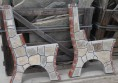 градинска бетонна пейка с камък