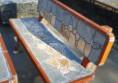 бетонова пейка с камък за двора