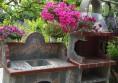 красив градински комплект барбекю и мивка